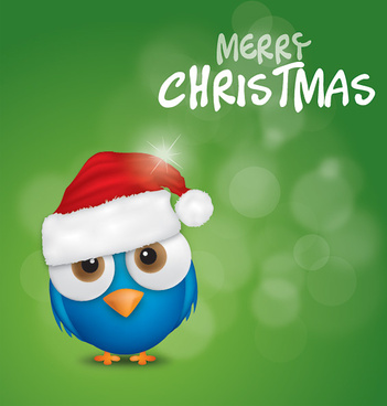 merry christmas bird vector graphic