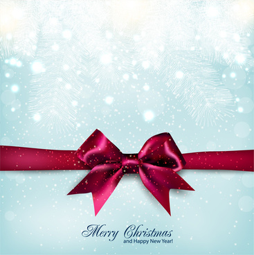 merry christmas bow and snow background