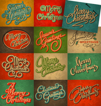 merry christmas calligraphic typographic vector template