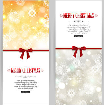 merry christmas red bow greeting card vector