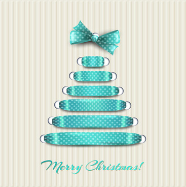 merry christmas ribbon bow tree vector