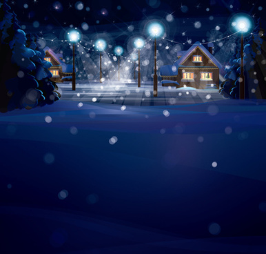 merry christmas winter night designs vector