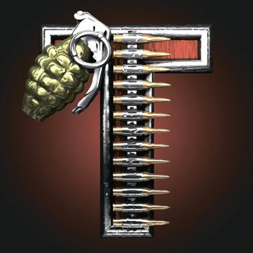 metal alphabet with bullet and grenade vectors set