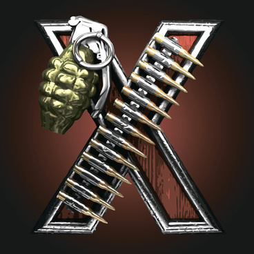 metal alphabet with bullet and grenade vectors set