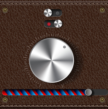 metal button on leather background