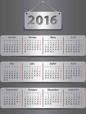 metal calendar16 creative vector