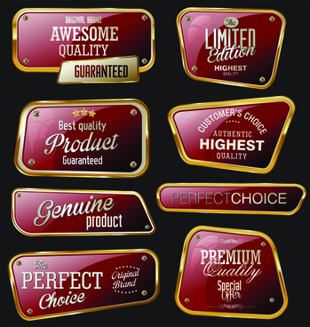 metal golden labels textured vector
