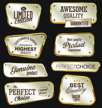 metal golden labels textured vector