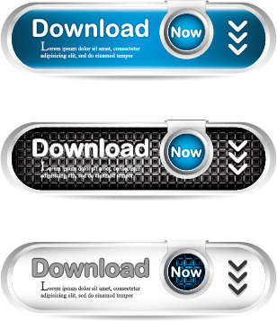 metal style creative download button vector