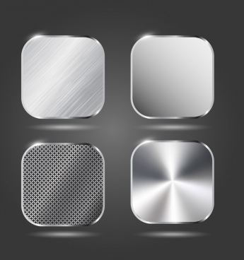 metal surface icons various shiny stainless material design