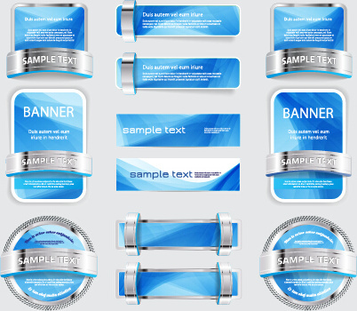 metal with blue web banners and labels vector