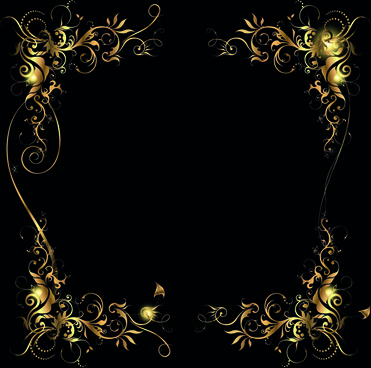 metallic floral golden ornament vector