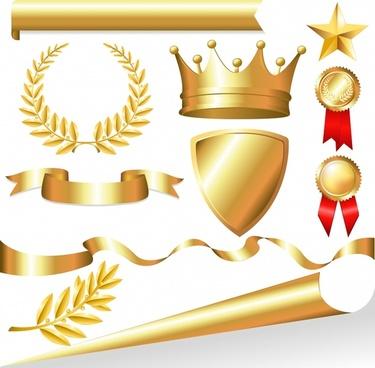 prize decor elements modern shiny golden 3d symbols