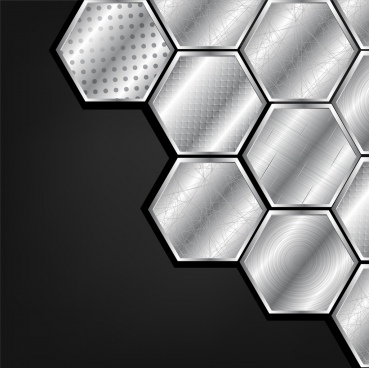 metallic polygonal background honeycomb icon various pattern decor