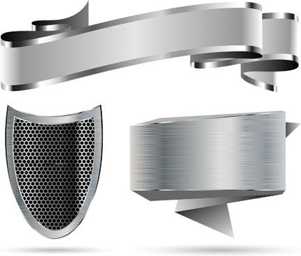 metallic shield and ribbon vector
