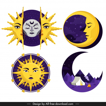 meteorology icons stylized sun moon shapes sketch