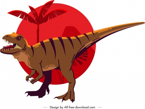 metriacanthosaurus dinosaur icon colored cartoon sketch classical design