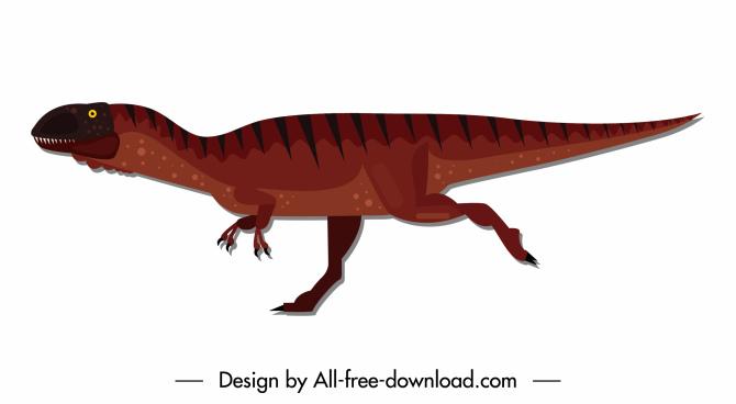 metriacanthosaurus dinosaur icon motion sketch colored flat design