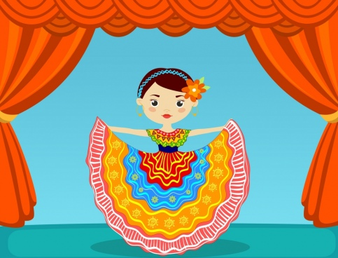 mexican dancer icon colorful costume decor cartoon design