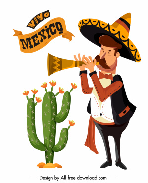 mexican design elements cacti festive man sketch
