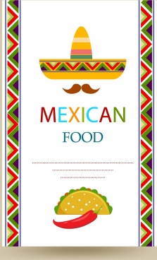mexican food cover menu colorful traditional hat design