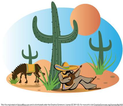 mexican landscape vector illustration