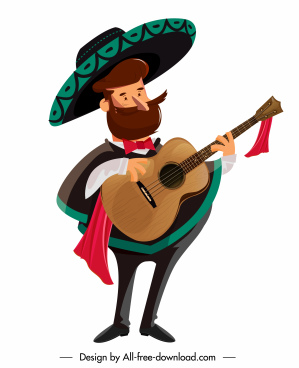 mexican man icon traditional costume sketch cartoon character