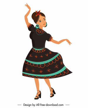 mexican woman icon traditional costume dancing cartoon sketch