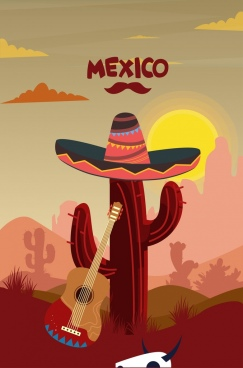 mexico advertising sunset landscape cactus guitar hat icons