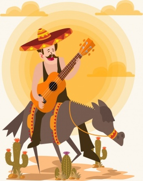 mexico background male guitarist donkey icons colored cartoon