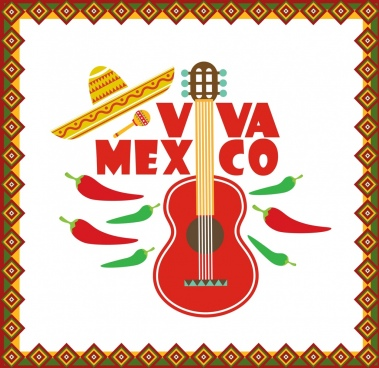 mexico banner classical flat design guitar chili icons