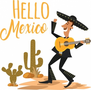 mexico banner male guitarist cactus icons calligraphic design