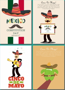 mexico banner sets sombrero cactus male singer icons