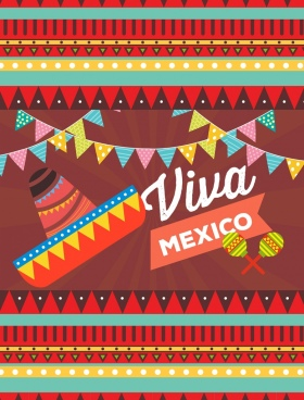 mexico decorative design elements multicolored symbols