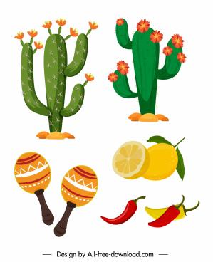 mexico design elements cacti food ingredients sketch