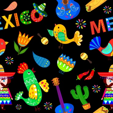 mexico design elements multicolored dark design various icons