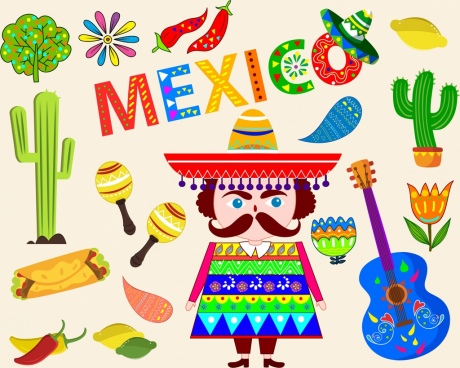 mexico tradition design elements various multicolored symbols