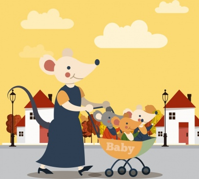 mice family painting mother kids stroller icons decor