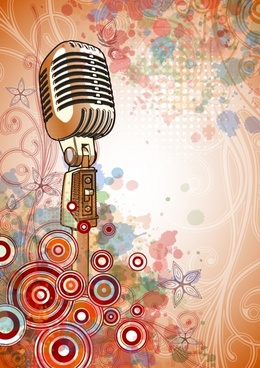 music background microphone flower circles decor classical sketch