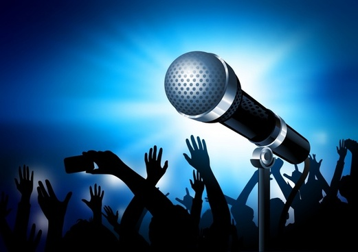 music background modern dynamic audiences silhouette 3d microphone