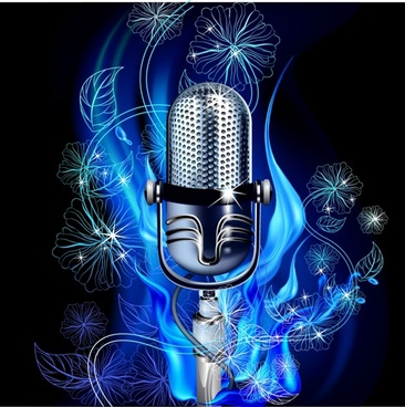 music background shiny microphone leaf flowers decor