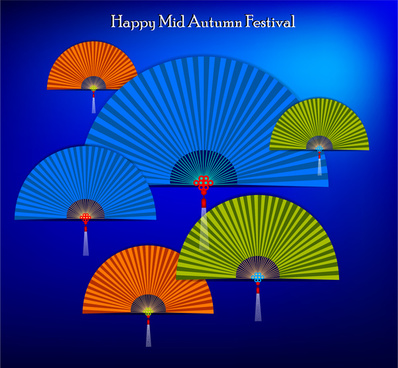 mid autumn banner on colorful paper fans background