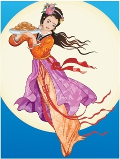 mid autumn background fairy moon icon oriental design