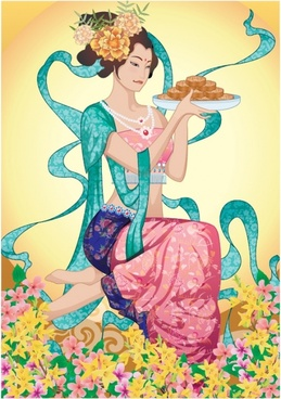 moon cake advertising fairy icon classical oriental design