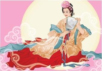 mid autumn background oriental fairy round moon icons