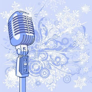 music background microphone icon sparkling 3d sketch