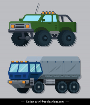 military cars icons colored modern design