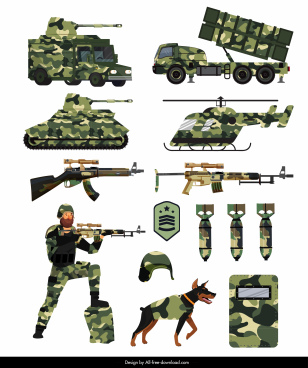 military design elements weapons soldiers sketch