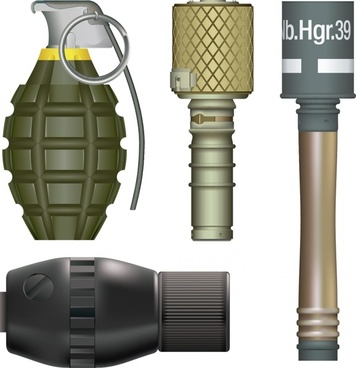 military weapons icons grenades sketch colored shiny contemporary