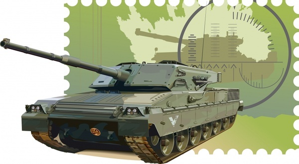 military stamp template tank icon colored 3d sketch